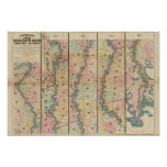 El mapa de Lloyd del río Misisipi más bajo Póster
