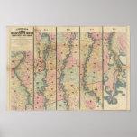 El mapa de Lloyd del río Misisipi más bajo Posters