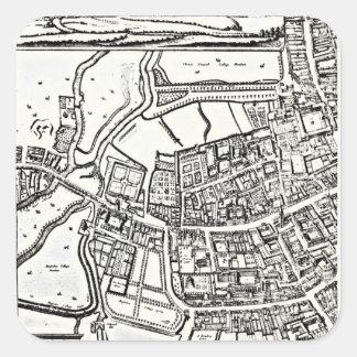 El mapa de Loggan de Oxford, hoja del este Pegatina Cuadrada
