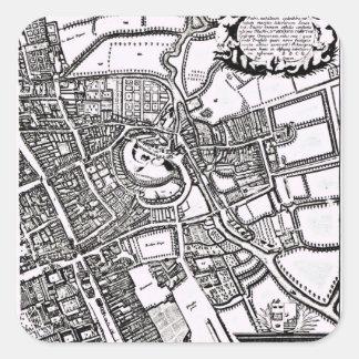 El mapa de Loggan de Oxford, hoja occidental Pegatina Cuadrada