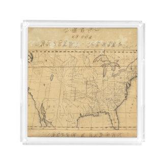 El mapa de los niños de los Estados Unidos Bandeja Cuadrada