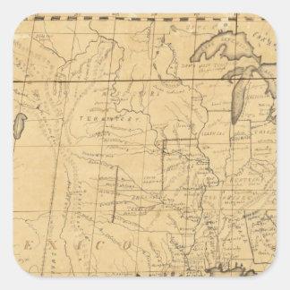 El mapa de los niños de los Estados Unidos Pegatina Cuadrada