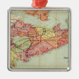 El mapa de Mackinlay de la provincia de Nueva Adorno Cuadrado Plateado