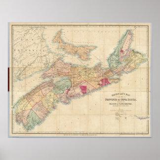 El mapa de Mackinlay de la provincia de Nueva Esco Póster