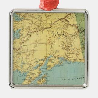 El mapa de McNally del rand de Alaska Adorno Navideño Cuadrado De Metal