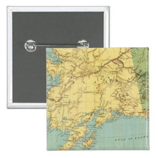 El mapa de McNally del rand de Alaska Pin Cuadrada 5 Cm