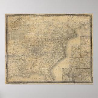 El mapa de Mitchell de los Estados Unidos Impresiones