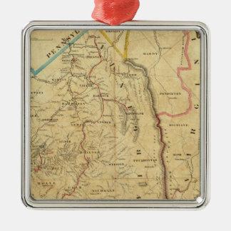 El mapa de Richardson de Virginia Occidental Adorno Navideño Cuadrado De Metal