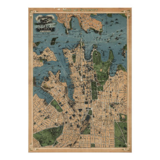 El mapa de Robinson de Sydney, 1922) reimpresiones Posters
