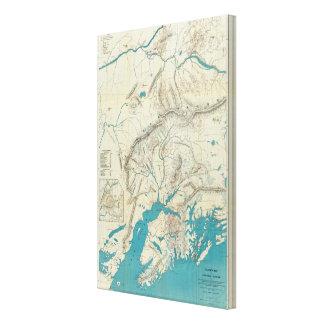 El mapa de Sleem de Alaska central Impresiones En Lienzo Estiradas