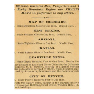 El mapa de Thayer de Colorado Tarjeta Postal