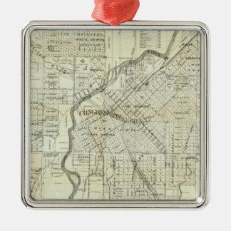 El mapa de Thayer de Denver Colorado Adorno Navideño Cuadrado De Metal