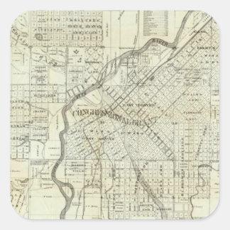 El mapa de Thayer de Denver Colorado Calcomania Cuadrada Personalizada