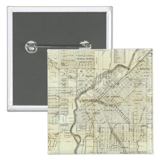 El mapa de Thayer de Denver Colorado Pin Cuadrado