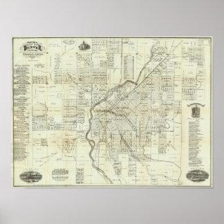 El mapa de Thayer de Denver Colorado Posters