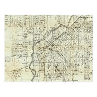 El mapa de Thayer de Denver Colorado Tarjetas Postales