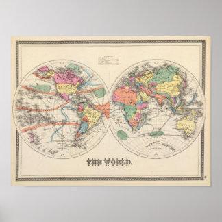 El mapa del atlas del mundo con las corrientes y l póster