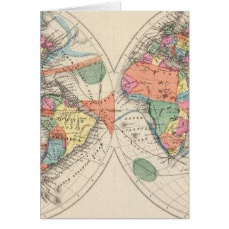 El mapa del atlas del mundo con las corrientes y l felicitación