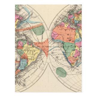El mapa del atlas del mundo con las corrientes y postal