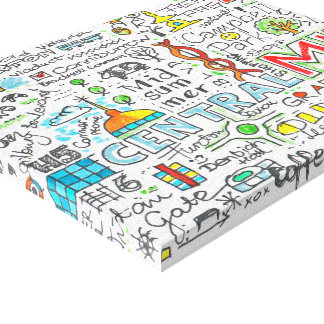 El mapa del doodle de Milton Keynes imprimió la Impresión En Lona Estirada