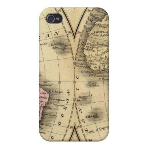 El mapa del hemisferio del doble del mundo iPhone 4 funda