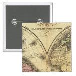 El mapa del hemisferio del doble del mundo pin cuadrado