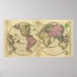 El mapa del hemisferio del doble del mundo póster