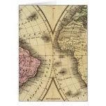 El mapa del hemisferio del doble del mundo tarjeta de felicitación