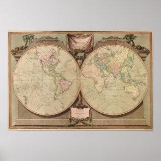 El mapa del mundo 1808 de la antigüedad de Laurie  Póster