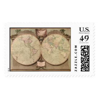 El mapa del mundo 1808 de la antigüedad de Laurie Timbre Postal