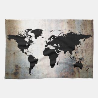 El mapa del mundo aherrumbró metal toalla de cocina