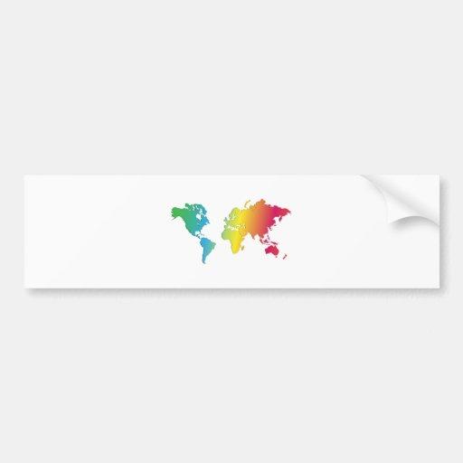 el mapa del mundo colorea .jpg [convertido] pegatina de parachoque