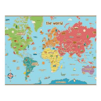 El mapa del mundo con los gráficos postales