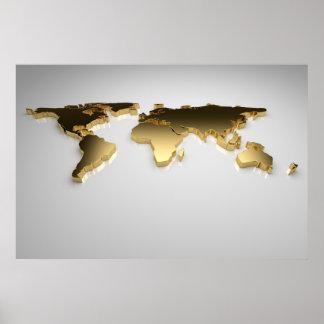 El mapa del mundo de oro en el fondo gris, 3d rind impresiones