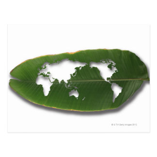 El mapa del mundo gusano-comido de la hoja postal