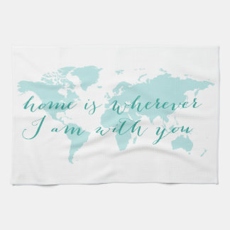 El mapa del mundo, hogar es dondequiera que esté toalla de mano