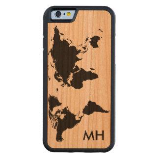 el mapa del mundo personalizado funda de iPhone 6 bumper cerezo