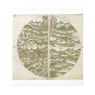 El mapa del mundo sabido más viejo del grabar en m bloc