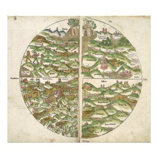 El mapa del mundo sabido más viejo del grabar en m fotografía