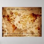 El mapa del mundo según el 3:16 de Juan Posters