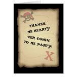 El mapa del tesoro del pirata le agradece tarjeta