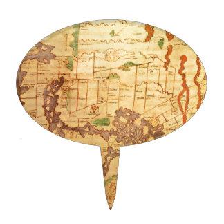 """El mapa del """"tiempo y de la marea"""" de la carta atl decoraciones de tartas"""