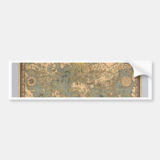 El mapa del tiempo y de la marea de la carta atl pegatina de parachoque
