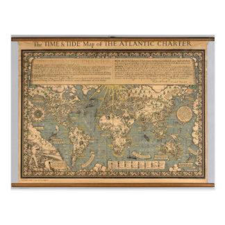 """El mapa del """"tiempo y de la marea"""" de la carta atl tarjetas postales"""