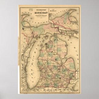 El mapa del vintage del Michigan Railroads (1876) Impresiones