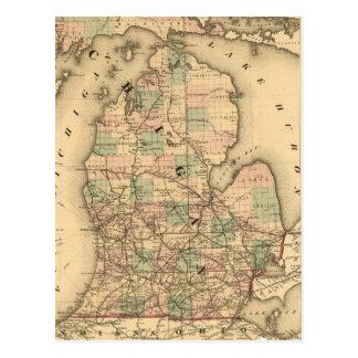 El mapa del vintage del Michigan Railroads (1876) Postal