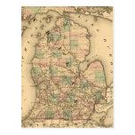 El mapa del vintage del Michigan Railroads (1876) Tarjetas Postales