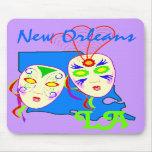El mapa festivo de Luisiana con carnaval enmascara Tapetes De Raton