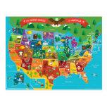 El mapa gráfico de los Estados Unidos de América Tarjetas Postales