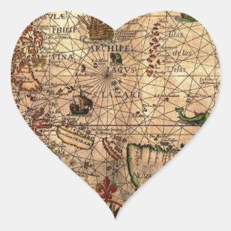 el mapa hictoric más importante de Asia Pegatina En Forma De Corazón